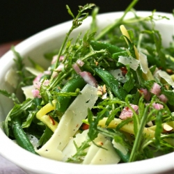 Summer bean salad with wild arugula, roasted almonds, manchego cheese and shallot dressing. A happy salad.